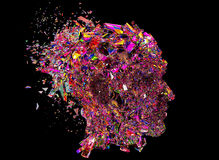Shattered colorful glass Head side view Royalty Free Stock Photography