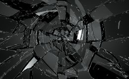 Shattered or damaged glass Pieces on black. Large resolution Stock Photos