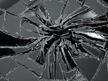 Shattered or damaged glass Pieces isolated. On black background Royalty Free Stock Images