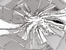 Shattered or damaged glass Pieces. On white background Stock Image