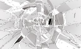 Shattered or damaged glass Pieces on white. Large resolution Stock Photography