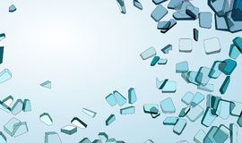 Shattered or damaged pieces of blue glass. Over gradient background Royalty Free Stock Images