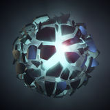 Shattered dark stone in empty space revealing blue light. 3D render of shattered dark stone revealing blue light. Stone is broken into small pieces that are Stock Photos