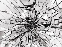 Shattered or demolished glass over black background. 3d rendering 3d illustration Stock Image