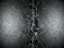 Shattered or demolished glass over black background. 3d rendering 3d illustration Stock Photos