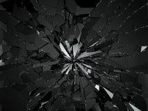 Shattered or demolished glass over black background. 3d rendering 3d illustration Royalty Free Stock Images
