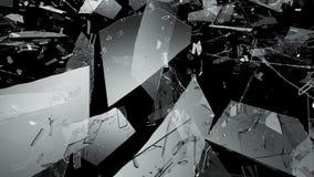 Shattered or demolished glass over black background. 3d rendering 3d illustration Stock Images