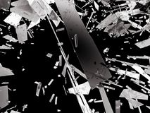 Shattered or demolished glass over black. Background. 3d rendering 3d illustration Royalty Free Stock Photo