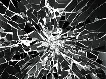 Shattered or demolished glass over white background. 3d rendering 3d illustration Royalty Free Stock Photography