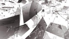Shattered or demolished glass over white background. 3d rendering 3d illustration Royalty Free Stock Image