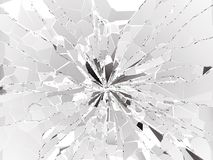 Shattered or demolished glass over white background. 3d rendering 3d illustration Stock Photo