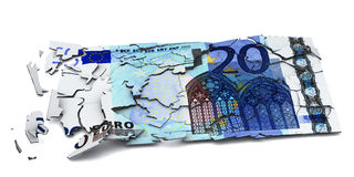 Shattered euro banknote Royalty Free Stock Photography