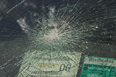 Shattered glass. Shattered windshield stock images