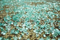 Shattered Glass. From a car window lays scattered on the sidewalk stock photo