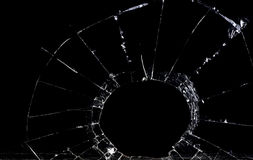 Shattered glass. Against a black backdrop is shown stock photo