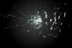 Shattered glass on black background Stock Photography