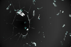 Shattered glass on black background Stock Photos