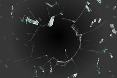 Shattered glass on black background Royalty Free Stock Photos