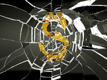 Shattered glass and broken US dollar symbol. Financial crisis and decline stock illustration