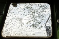 Shattered glass in cabine Royalty Free Stock Photography