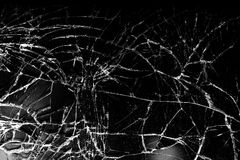 Shattered glass. With a lot of cracks, texture stock images