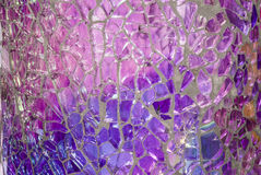 Shattered Glass Mosaic. Closeup - Blues, Purples, Reflections stock photography