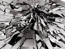 Shattered glass over black background. 3d rendering 3d illustration Royalty Free Stock Photos
