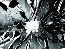 Shattered glass over white background. 3d illustration; 3d rendering Royalty Free Stock Photos