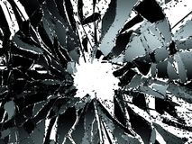 Shattered glass over white background. 3d illustration; 3d rendering Royalty Free Stock Photo