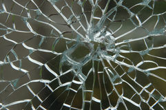 Shattered Glass Pane. Shattered sheet of Glass close up Royalty Free Stock Photos
