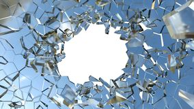 Shattered glass: sharp Pieces and hole on white. Shattered glass: sharp Pieces and hole over white background royalty free stock images
