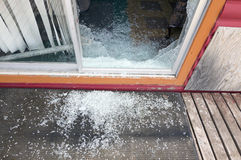 Shattered Glass Sliding Door Royalty Free Stock Image