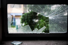 Shattered glass window. With sharp edges royalty free stock images