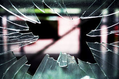 Shattered glass window. With sharp edges Royalty Free Stock Photography