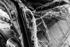 Shattered glass windscreen Stock Photography