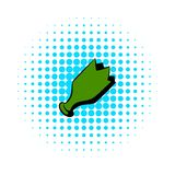 Shattered green bottle icon, comics style royalty free illustration
