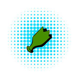 Shattered green bottle icon, comics style Royalty Free Stock Images