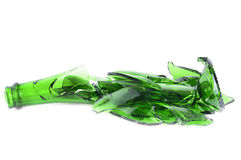 Shattered green champagne bottle royalty free stock photo