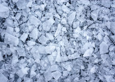 Shattered ice. Background with shattered ice on lake in shades of blue Royalty Free Stock Photo