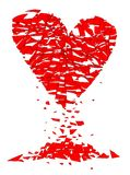 Shattered Lovers Heart Over A White Background. A shattered lovers heart over a white background Stock Images