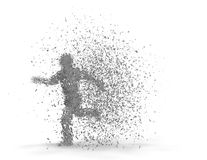 Shattered man running fast 3D rendering. Royalty Free Stock Photography