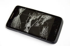 Shattered phone screen Stock Photo