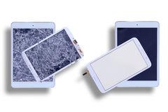 Shattered and repaired tablet screens Stock Image