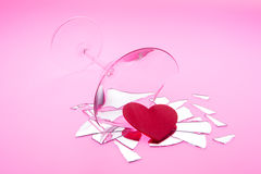 Shattered Romance Spilling Out with Heart Stock Photo