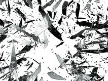 Shattered or Splitted glass Pieces isolated. On white royalty free stock images