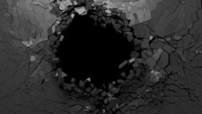 Hole on a broken black wall blank space. 3d illustration. Shattered wall concept. Hole on a broken black wall blank space. 3d illustration vector illustration