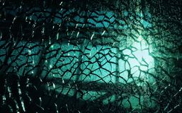 Shattered window in evening light at London heathrow airport Stock Photography