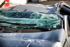 Shattered windscreen of a car in an accident Stock Images