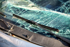 Shattered windscreen of a car in an accident Stock Photo