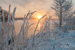 Lakes, water, rivers, frost, snow, ice, winter stock photos